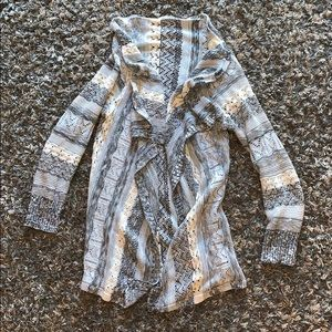 Gray and White Knit Cardigan